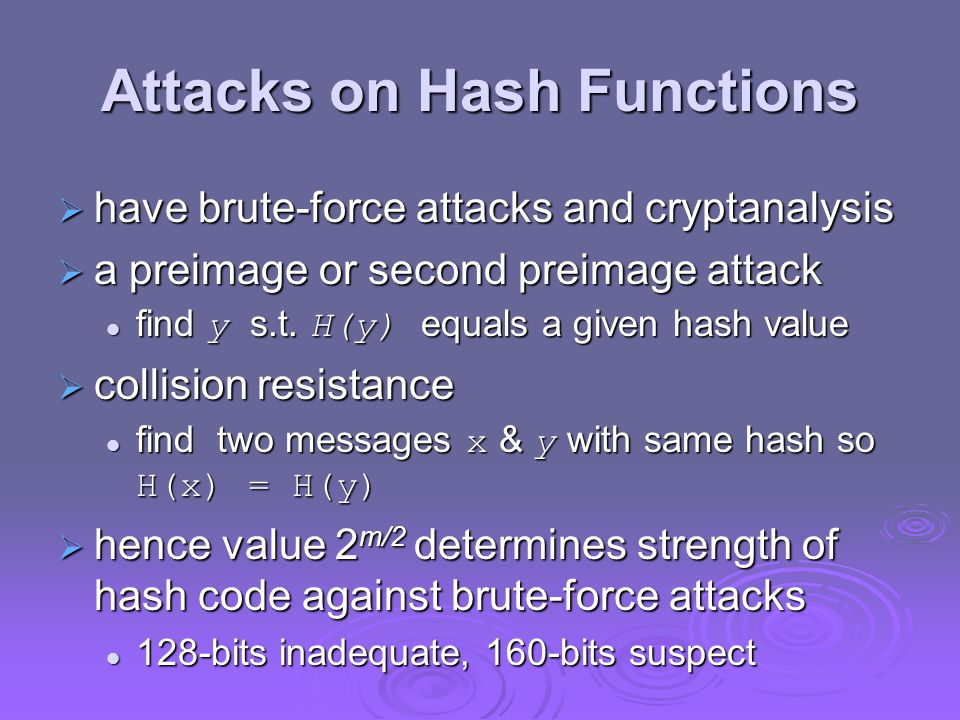Attacks on Hash Functions  have brute-force attacks and cryptanalysis  a preimage or second preimage attack  find y s.t. H(y) equals a given hash v