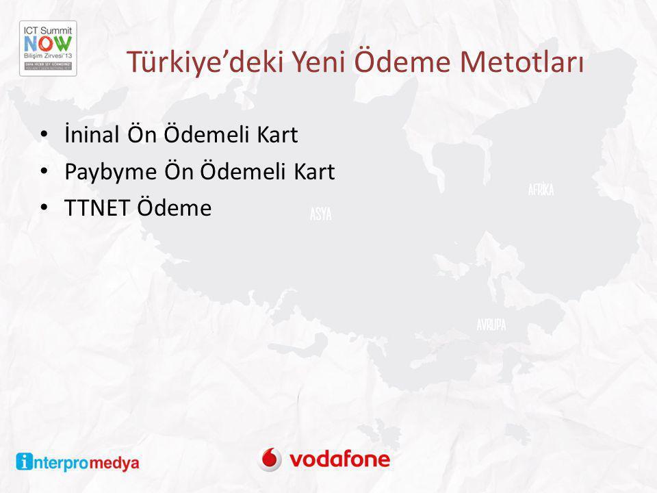 Türkiye'deki Yeni Ödeme Metotları • İninal Ön Ödemeli Kart • Paybyme Ön Ödemeli Kart • TTNET Ödeme