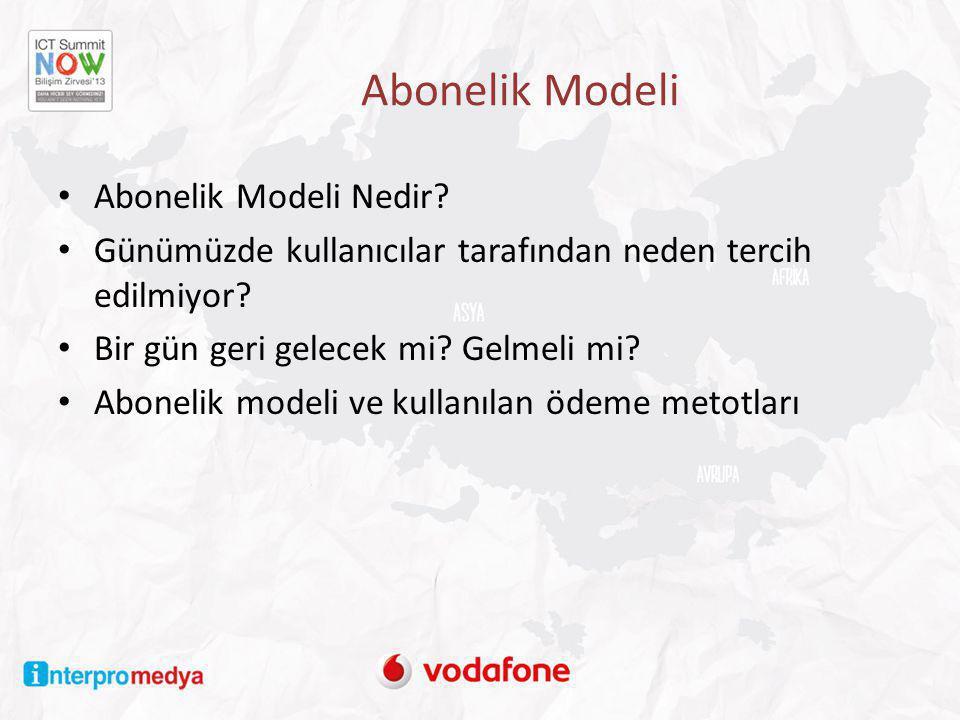 Abonelik Modeli • Abonelik Modeli Nedir? • Günümüzde kullanıcılar tarafından neden tercih edilmiyor? • Bir gün geri gelecek mi? Gelmeli mi? • Abonelik