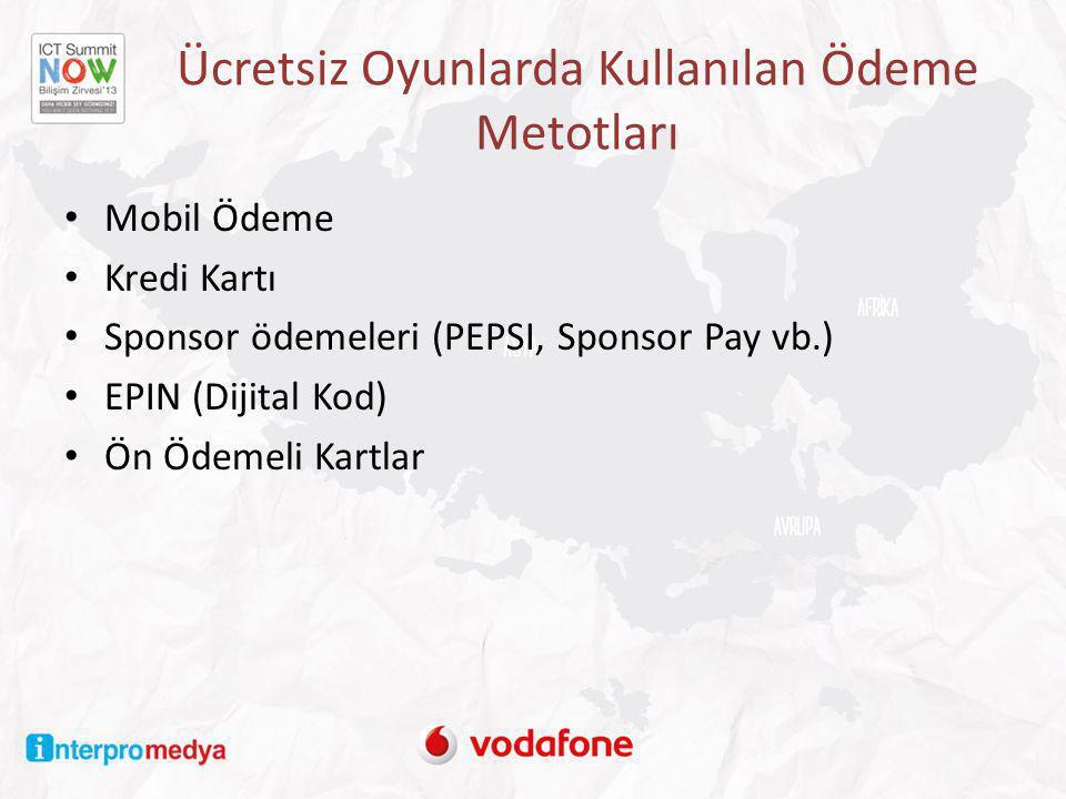 Ücretsiz Oyunlarda Kullanılan Ödeme Metotları • Mobil Ödeme • Kredi Kartı • Sponsor ödemeleri (PEPSI, Sponsor Pay vb.) • EPIN (Dijital Kod) • Ön Ödeme