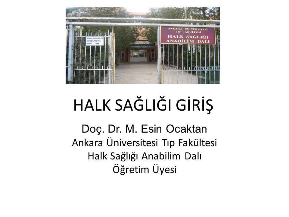 HALK SAĞLIĞI GİRİŞ Doç. Dr. M. Esin Ocaktan Ankara Üniversitesi Tıp Fakültesi Halk Sağlığı Anabilim Dalı Öğretim Üyesi