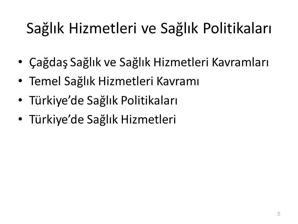 Sağlık Hizmetleri ve Sağlık Politikaları • Çağdaş Sağlık ve Sağlık Hizmetleri Kavramları • Temel Sağlık Hizmetleri Kavramı • Türkiye'de Sağlık Politik