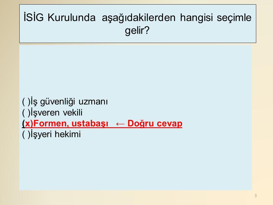 114 (x)Arına Paralel Tahkimat ← Doğru cevap ( )Çelik Bağ ( )Kilit Tahkimat ( )Kasa Tahkimatı Bir ana nakliyat galerisinde, galeri içerisinde hangi tip tahkimat kullanılmaz?