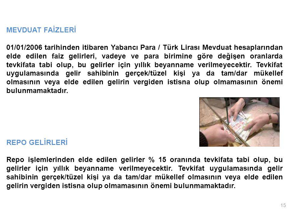 15 MEVDUAT FAİZLERİ 01/01/2006 tarihinden itibaren Yabancı Para / Türk Lirası Mevduat hesaplarından elde edilen faiz gelirleri, vadeye ve para birimine göre değişen oranlarda tevkifata tabi olup, bu gelirler için yıllık beyanname verilmeyecektir.