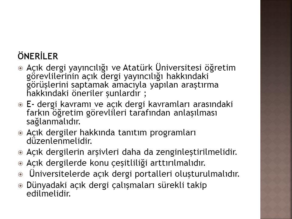 ÖNERİLER  Açık dergi yayıncılığı ve Atatürk Üniversitesi öğretim görevlilerinin açık dergi yayıncılığı hakkındaki görüşlerini saptamak amacıyla yapıl