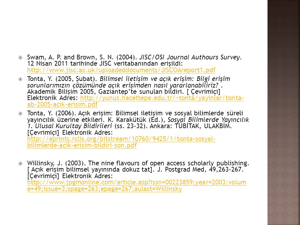  Swam, A.P. and Brown, S. N. (2004). JISC/OSI Journal Authours Survey.
