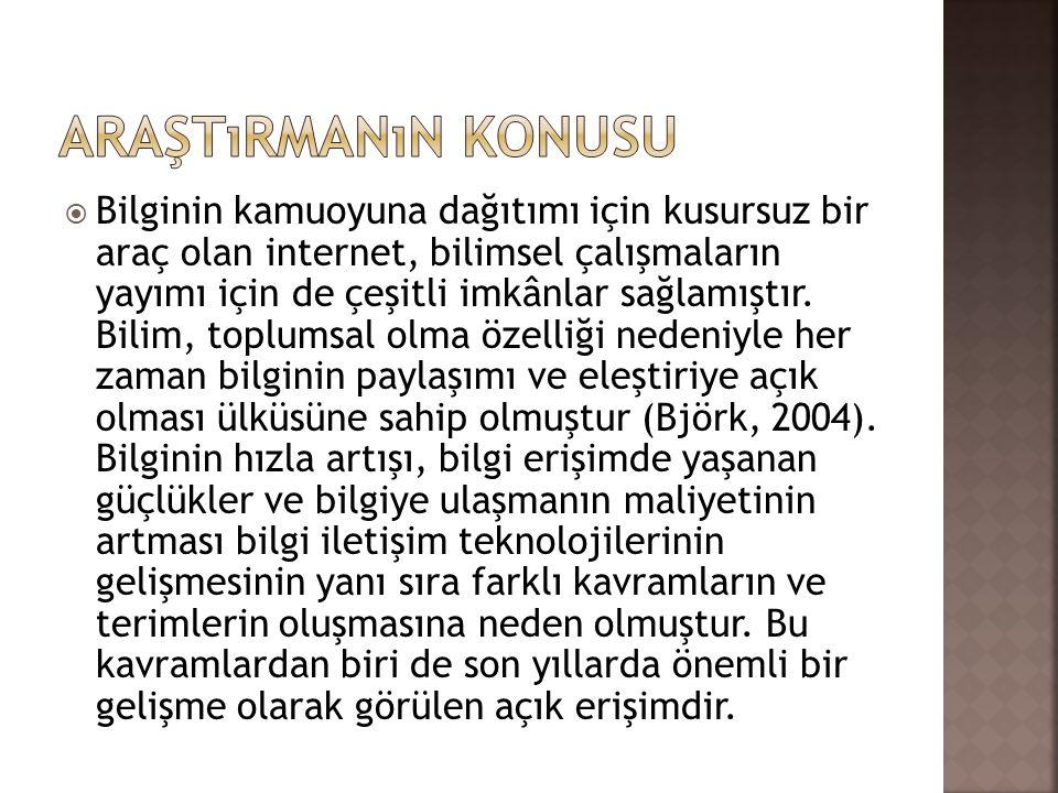  Araştırmada açık dergi yayıncılığı ve Atatürk Üniversitesi öğretim üyelerinin açık dergi yayıncılığına karşı tutumları incelenmiştir.