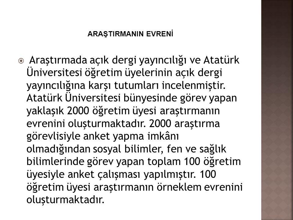  Araştırmada açık dergi yayıncılığı ve Atatürk Üniversitesi öğretim üyelerinin açık dergi yayıncılığına karşı tutumları incelenmiştir. Atatürk Üniver