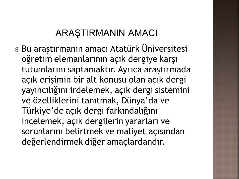  Bu araştırmanın amacı Atatürk Üniversitesi öğretim elemanlarının açık dergiye karşı tutumlarını saptamaktır. Ayrıca araştırmada açık erişimin bir al