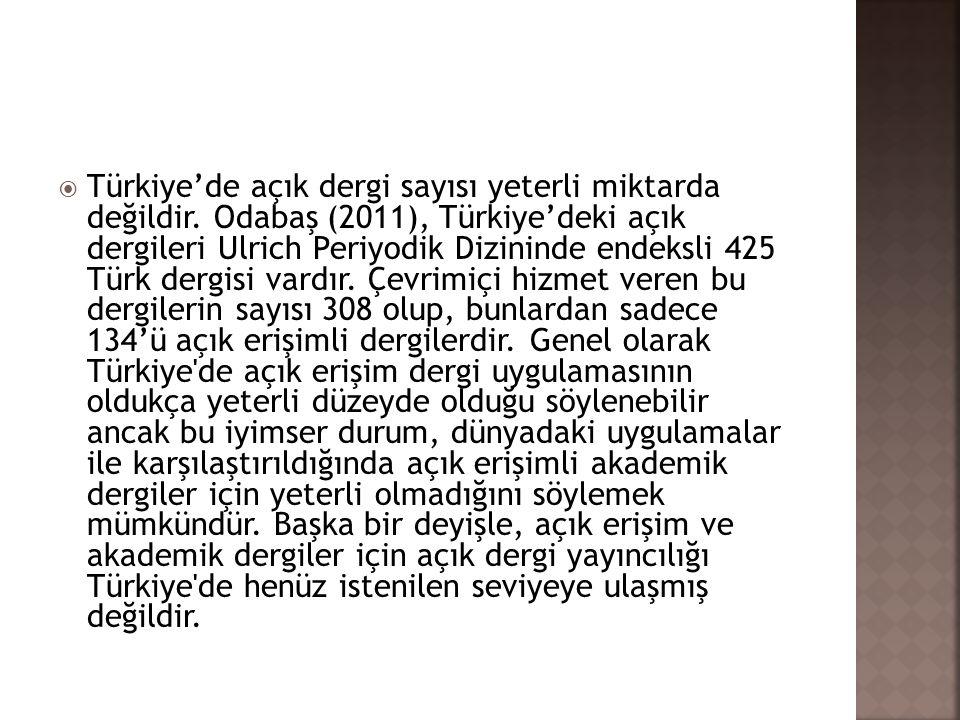  Türkiye'de açık dergi sayısı yeterli miktarda değildir. Odabaş (2011), Türkiye'deki açık dergileri Ulrich Periyodik Dizininde endeksli 425 Türk derg