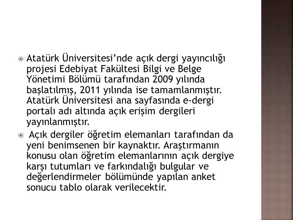  Atatürk Üniversitesi'nde açık dergi yayıncılığı projesi Edebiyat Fakültesi Bilgi ve Belge Yönetimi Bölümü tarafından 2009 yılında başlatılmış, 2011