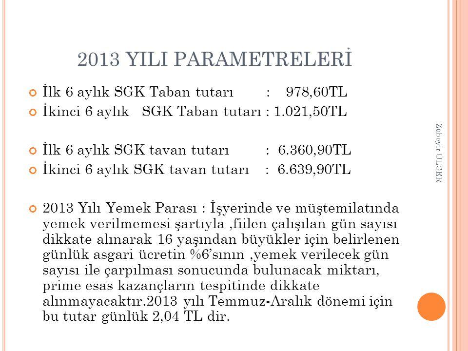 2013 YILI PARAMETRELERİ İlk 6 aylık SGK Taban tutarı : 978,60TL İkinci 6 aylık SGK Taban tutarı : 1.021,50TL İlk 6 aylık SGK tavan tutarı : 6.360,90TL
