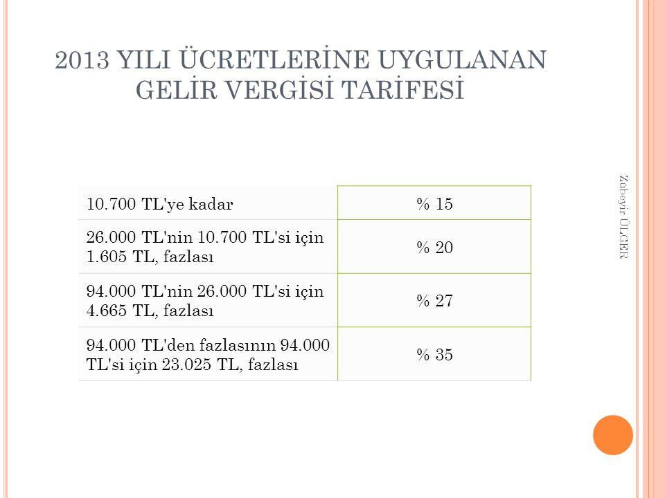 2013 YILI ÜCRETLERİNE UYGULANAN GELİR VERGİSİ TARİFESİ 10.700 TL'ye kadar% 15 26.000 TL'nin 10.700 TL'si için 1.605 TL, fazlası % 20 94.000 TL'nin 26.
