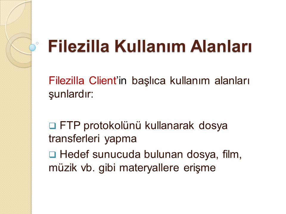 Filezilla Kullanım Alanları Filezilla Client'in başlıca kullanım alanları şunlardır:  FTP protokolünü kullanarak dosya transferleri yapma  Hedef sun