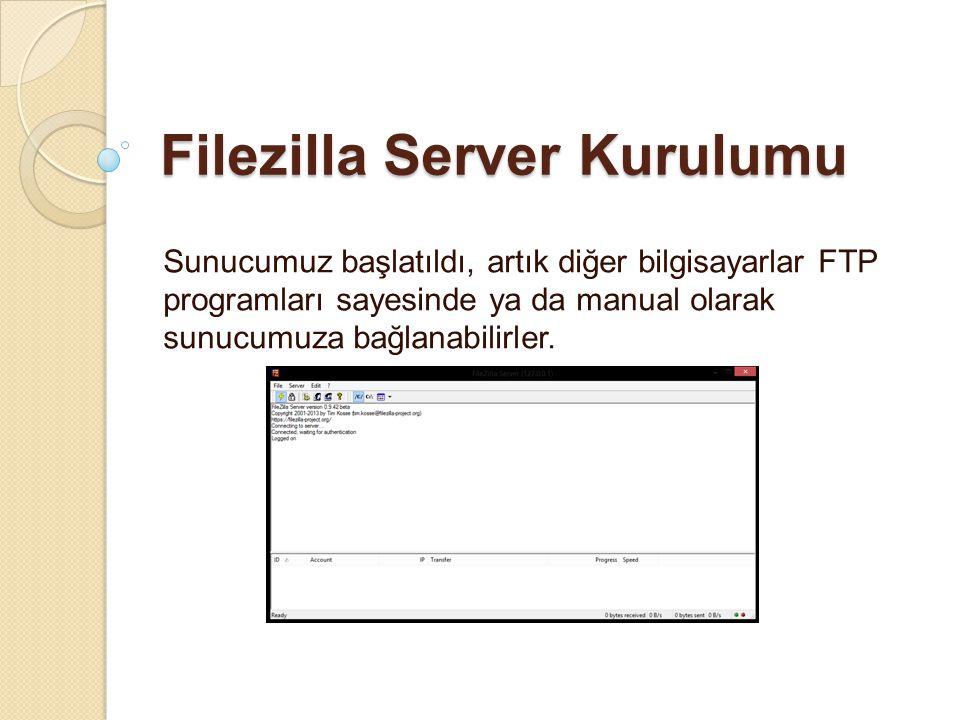 Filezilla Server Kurulumu Sunucumuz başlatıldı, artık diğer bilgisayarlar FTP programları sayesinde ya da manual olarak sunucumuza bağlanabilirler.