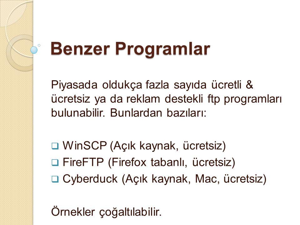 Benzer Programlar Piyasada oldukça fazla sayıda ücretli & ücretsiz ya da reklam destekli ftp programları bulunabilir. Bunlardan bazıları:  WinSCP (Aç