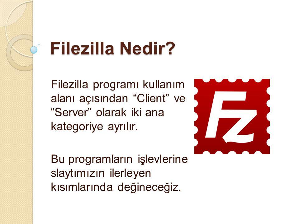 """Filezilla Nedir? Filezilla programı kullanım alanı açısından """"Client"""" ve """"Server"""" olarak iki ana kategoriye ayrılır. Bu programların işlevlerine slayt"""