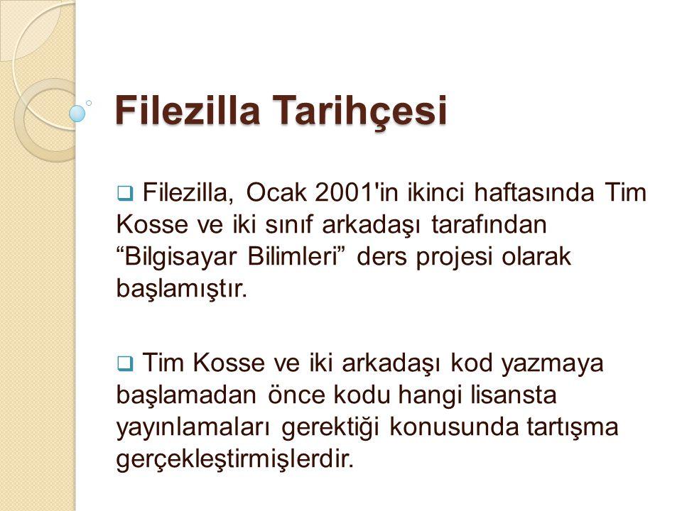 """Filezilla Tarihçesi  Filezilla, Ocak 2001'in ikinci haftasında Tim Kosse ve iki sınıf arkadaşı tarafından """"Bilgisayar Bilimleri"""" ders projesi olarak"""