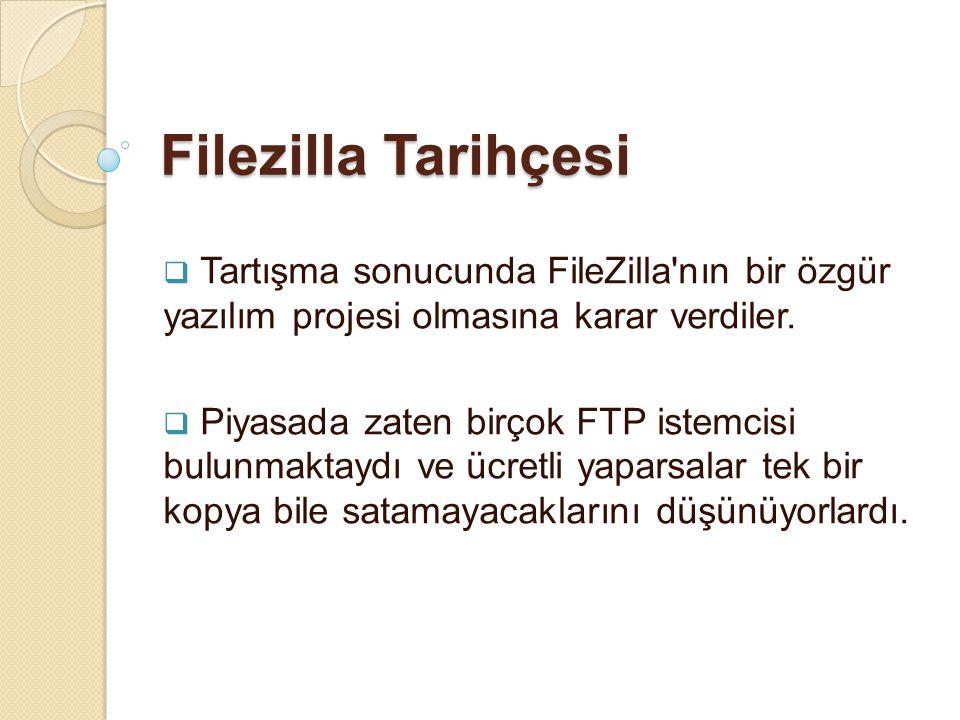 Filezilla Tarihçesi  Tartışma sonucunda FileZilla'nın bir özgür yazılım projesi olmasına karar verdiler.  Piyasada zaten birçok FTP istemcisi bulunm