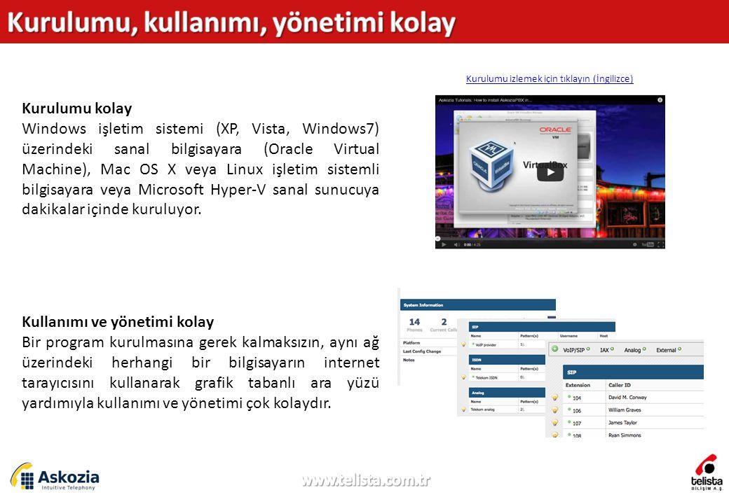 Kurulumu kolay Windows işletim sistemi (XP, Vista, Windows7) üzerindeki sanal bilgisayara (Oracle Virtual Machine), Mac OS X veya Linux işletim sistemli bilgisayara veya Microsoft Hyper-V sanal sunucuya dakikalar içinde kuruluyor.
