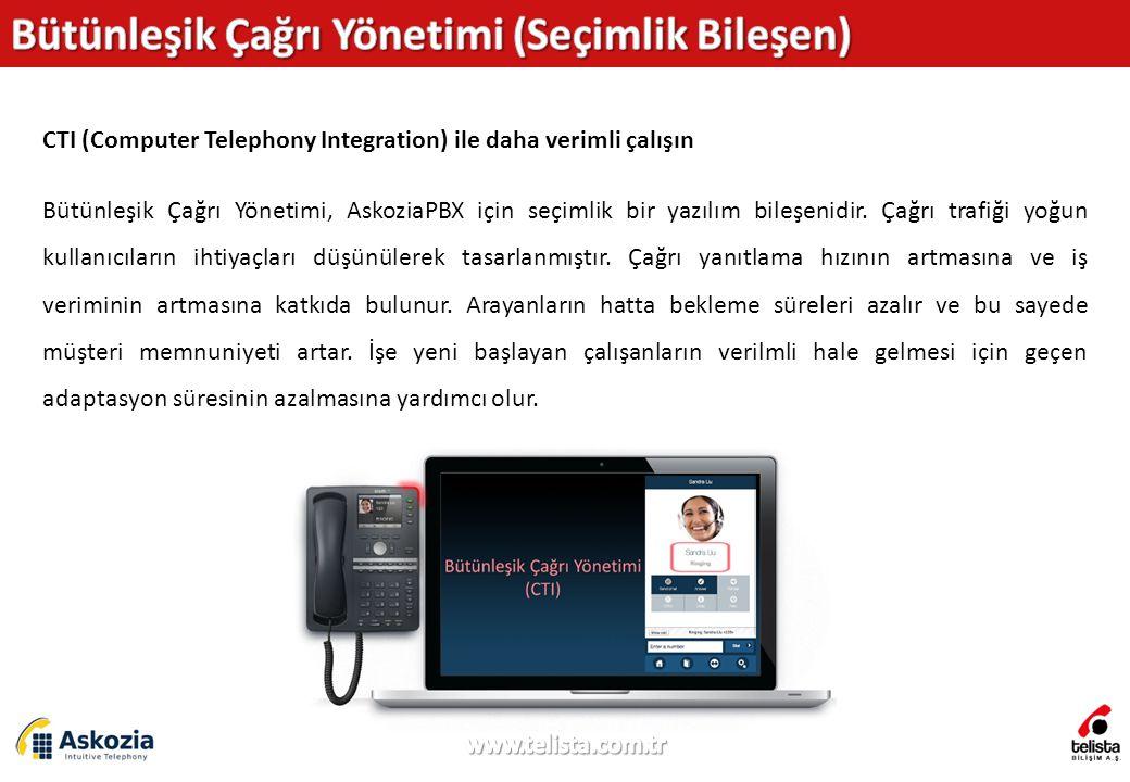 CTI (Computer Telephony Integration) ile daha verimli çalışın Bütünleşik Çağrı Yönetimi, AskoziaPBX için seçimlik bir yazılım bileşenidir.