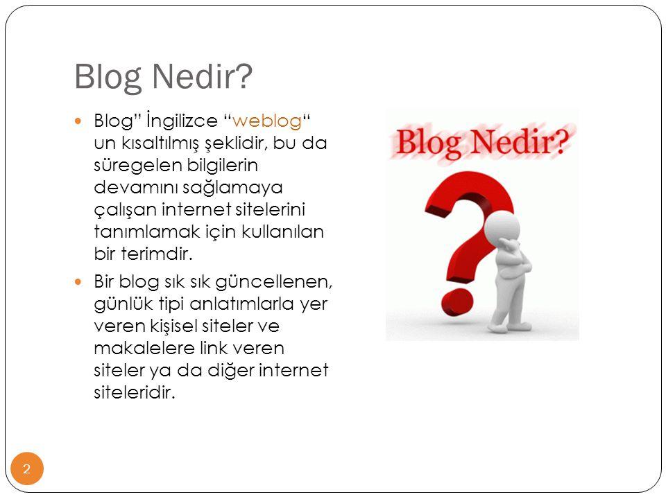 """Blog Nedir? 2  Blog"""" İngilizce """"weblog"""" un kısaltılmış şeklidir, bu da süregelen bilgilerin devamını sağlamaya çalışan internet sitelerini tanımlamak"""