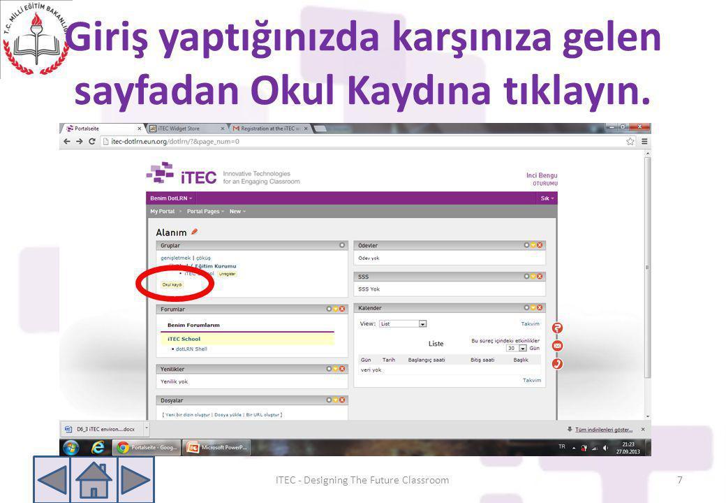 Tüm kullanıcılar otomatik olarak Itec School'a üyedirler.