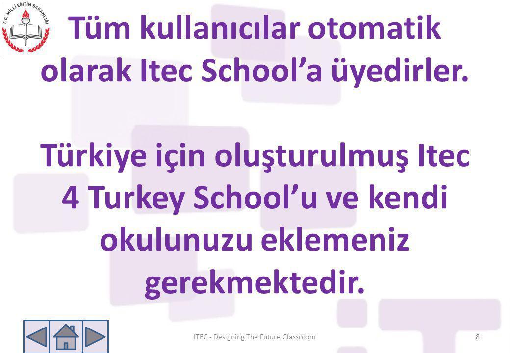 Tüm kullanıcılar otomatik olarak Itec School'a üyedirler. Türkiye için oluşturulmuş Itec 4 Turkey School'u ve kendi okulunuzu eklemeniz gerekmektedir.
