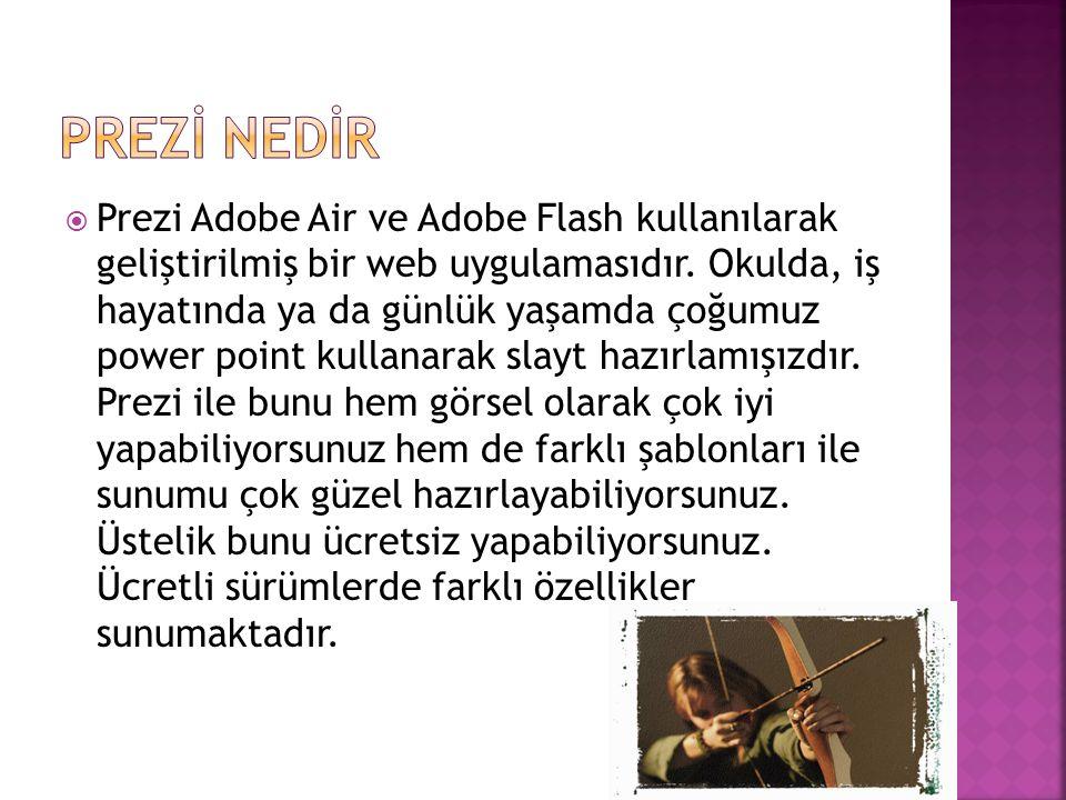  Prezi Adobe Air ve Adobe Flash kullanılarak geliştirilmiş bir web uygulamasıdır. Okulda, iş hayatında ya da günlük yaşamda çoğumuz power point kulla