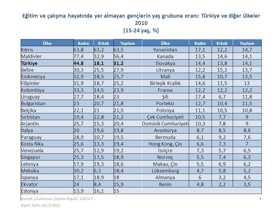 Cinsiyete göre iş gücüne katılım oranları: Türkiye ve seçilmiş ülke grupları 2011 ToplamErkekKadın Türkiye49,571,428,1 Yüksek gelir grubu60,869,252,8 Yüksek orta gelir grubu68,678,458,6 Orta gelir grubu63,778,848,4 Düşük gelir grubu75,482,768,3 OECD59,969,550,9 AB57,56550,3 Latin Amerika ve Karayipler66,379,853,4 Afrika (Sahra altı)69,676,363,1 Doğu Asya ve Pasifik71,779,763,6 Güney Asya57,181,331,8 Orta Doğu ve Kuzey Afrika48,273,721,1 Kaynak: Dünya Bankası, Dünya Bankası Göstergeleri.