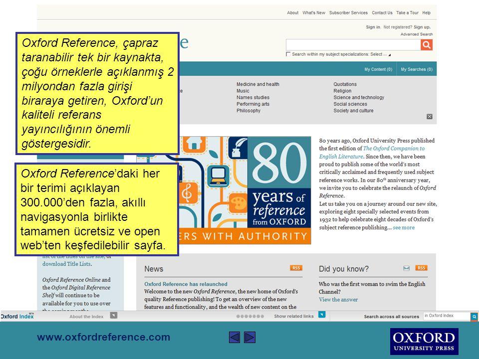 Bu sunum Oxford Reference hakkında kısa bir bilgi sunmaktadır.