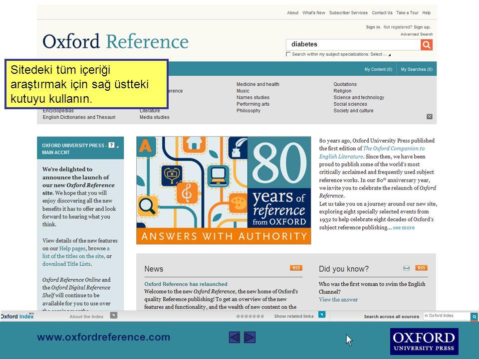 www.oxfordreference.com Site; 9.000'den fazla olayı içeren 270 zaman çizelgesi Kullanıcıların kendi araştırmalarını ve içerik sayfalarını kaydedebileceği kişiselleştirilmiş bir alan olan My Work .