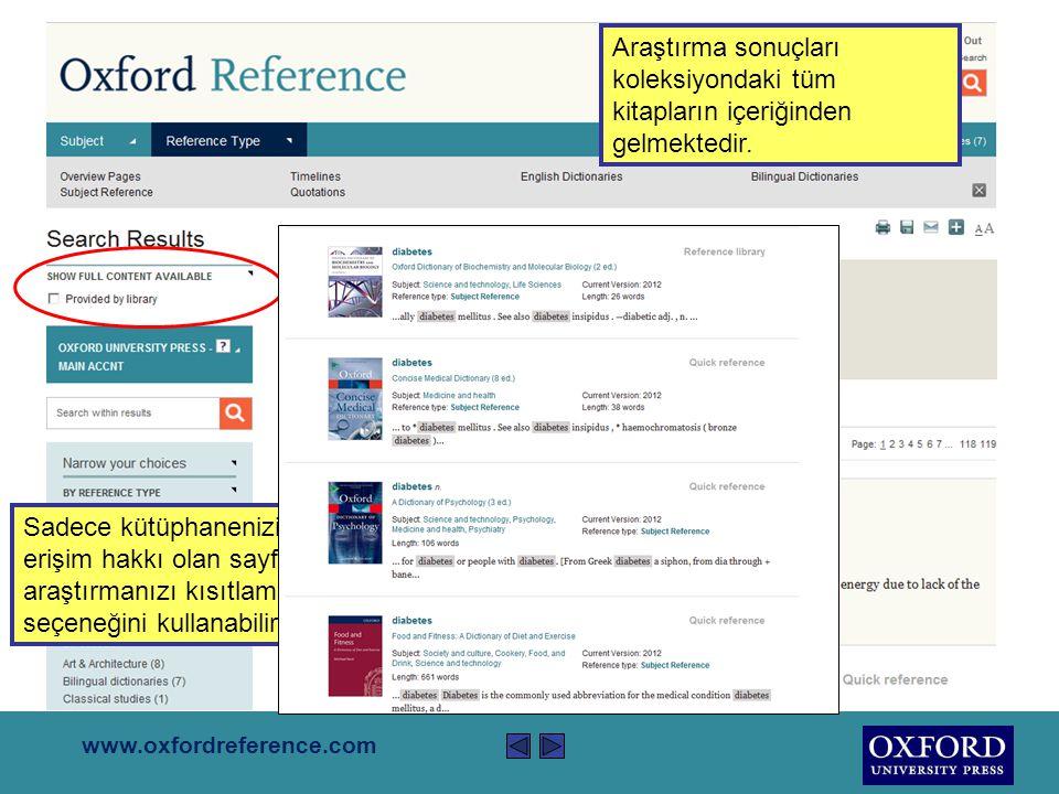 www.oxfordreference.com Sitedeki tüm içeriği araştırmak için sağ üstteki kutuyu kullanın. diabetes