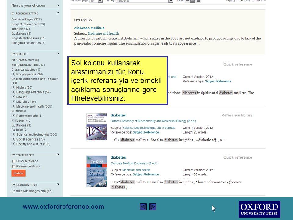 www.oxfordreference.com Araştırma sonuçları koleksiyondaki tüm kitapların içeriğinden gelmektedir.