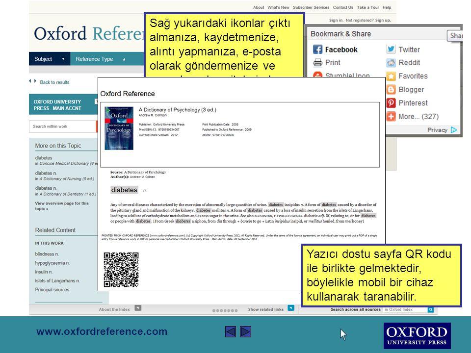 www.oxfordreference.com Sol kolonu kullanarak araştırmanızı tür, konu, içerik referansıyla ve örnekli açıklama sonuçlarıne gore filtreleyebilirsiniz.