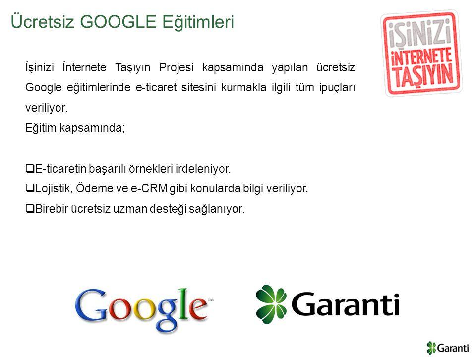İşinizi İnternete Taşıyın Projesi kapsamında yapılan ücretsiz Google eğitimlerinde e-ticaret sitesini kurmakla ilgili tüm ipuçları veriliyor. Eğitim k