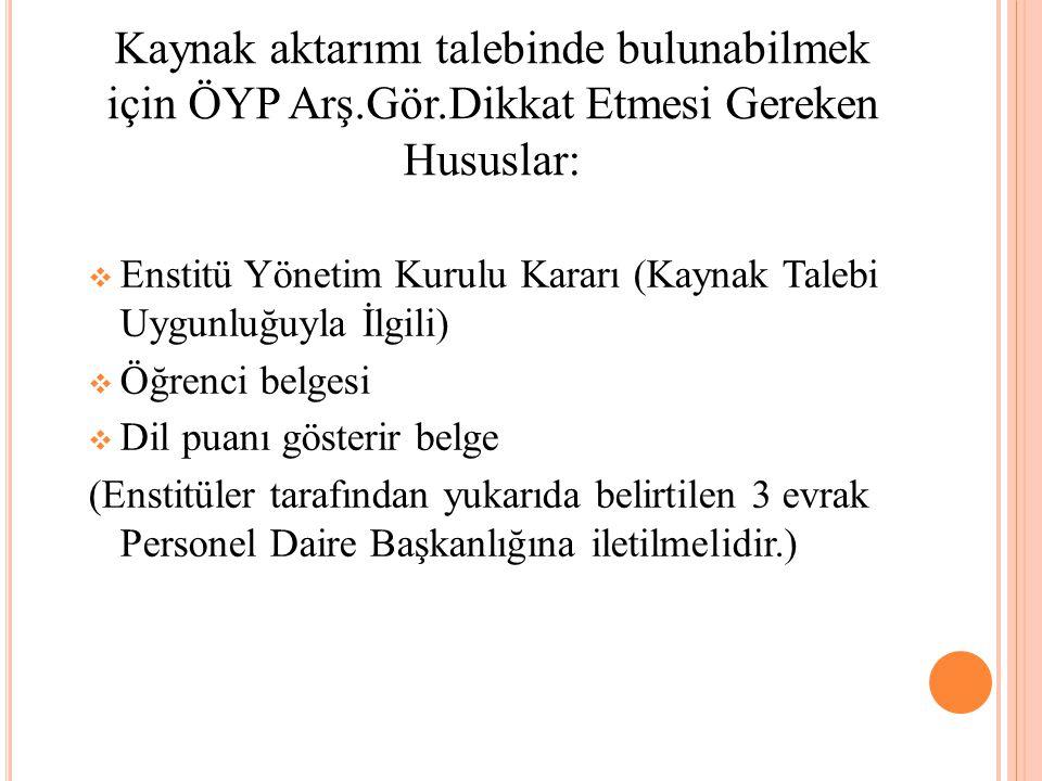  Enstitü Yönetim Kurulu Kararı (Kaynak Talebi Uygunluğuyla İlgili)  Öğrenci belgesi  Dil puanı gösterir belge (Enstitüler tarafından yukarıda belir