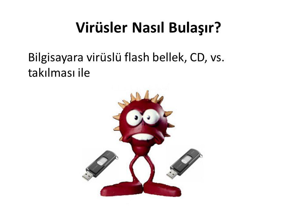 Virüsler Nasıl Bulaşır? Bilgisayara virüslü flash bellek, CD, vs. takılması ile