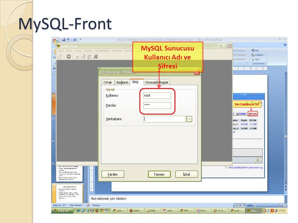 MySQL-Front MySQL Sunucusu Kullanıcı Adı ve Şifresi