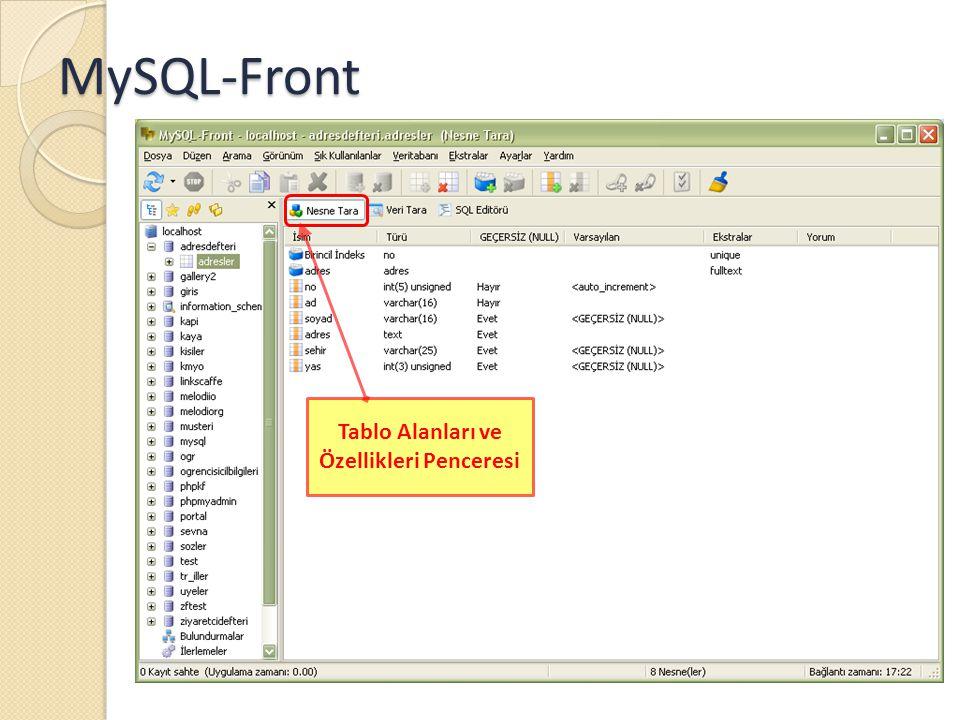 MySQL-Front Tablo Alanları ve Özellikleri Penceresi