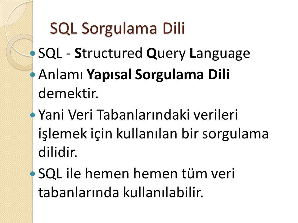 SQL Sorgulama Dili  SQL - Structured Query Language  Anlamı Yapısal Sorgulama Dili demektir.