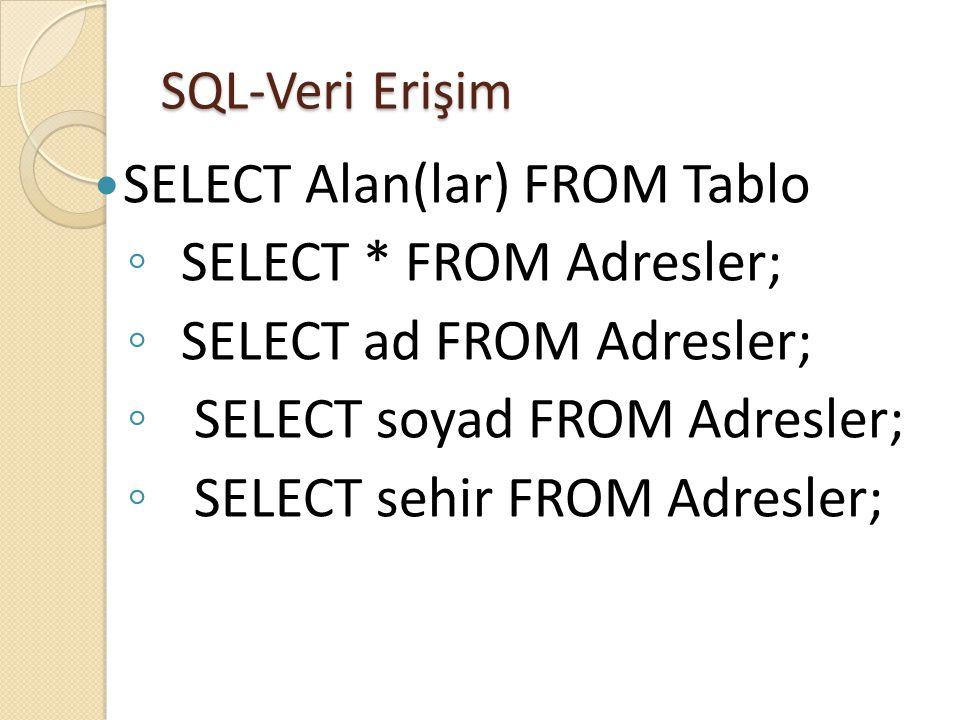 SQL-Veri Erişim  SELECT Alan(lar) FROM Tablo ◦ SELECT * FROM Adresler; ◦ SELECT ad FROM Adresler; ◦ SELECT soyad FROM Adresler; ◦ SELECT sehir FROM Adresler;
