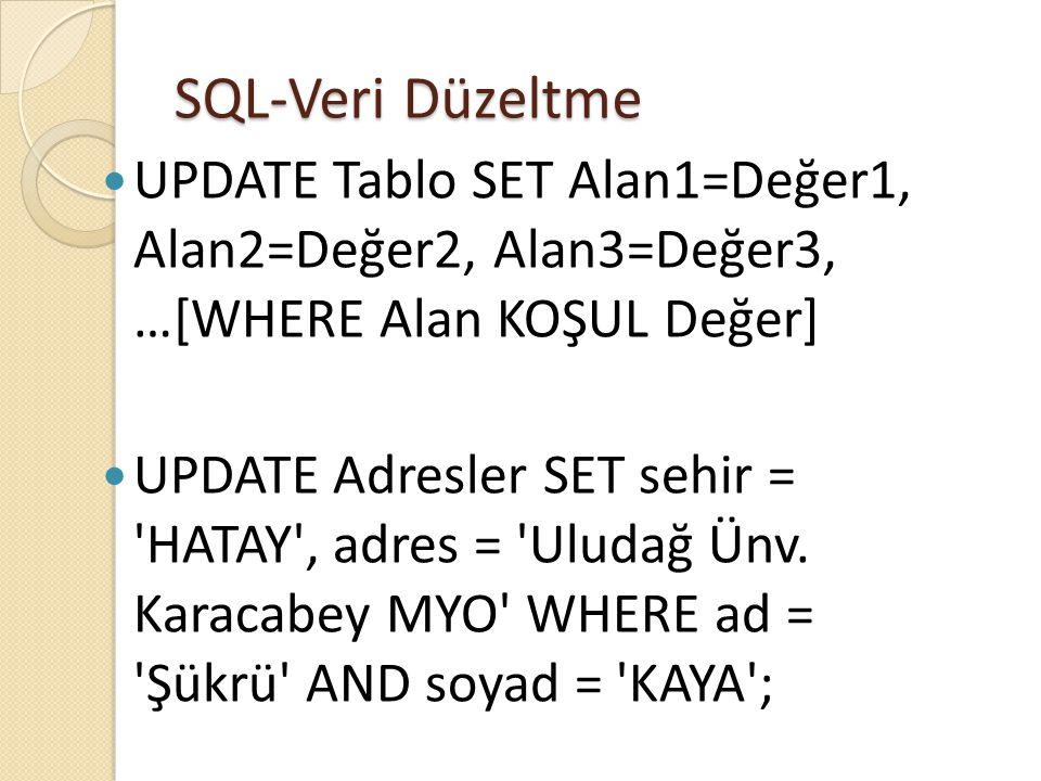 SQL-Veri Düzeltme  UPDATE Tablo SET Alan1=Değer1, Alan2=Değer2, Alan3=Değer3, …[WHERE Alan KOŞUL Değer]  UPDATE Adresler SET sehir = HATAY , adres = Uludağ Ünv.
