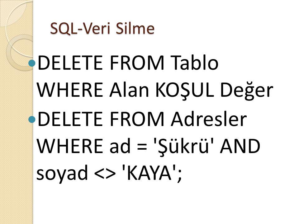 SQL-Veri Silme  DELETE FROM Tablo WHERE Alan KOŞUL Değer  DELETE FROM Adresler WHERE ad = Şükrü AND soyad <> KAYA ;