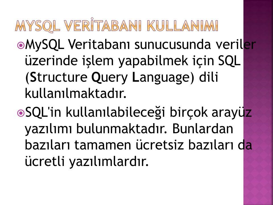  MySQL Veritabanı sunucusunda veriler üzerinde işlem yapabilmek için SQL (Structure Query Language) dili kullanılmaktadır.