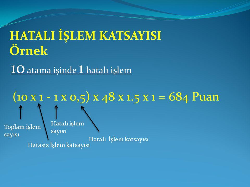 10 atama işinde 1 hatalı işlem (10 x 1 - 1 x 0,5) x 48 x 1.5 x 1 = 684 Puan Hatalı İşlem katsayısı HATALI İŞLEM KATSAYISI Örnek Hatasız İşlem katsayısı Toplam işlem sayısı Hatalı işlem sayısı