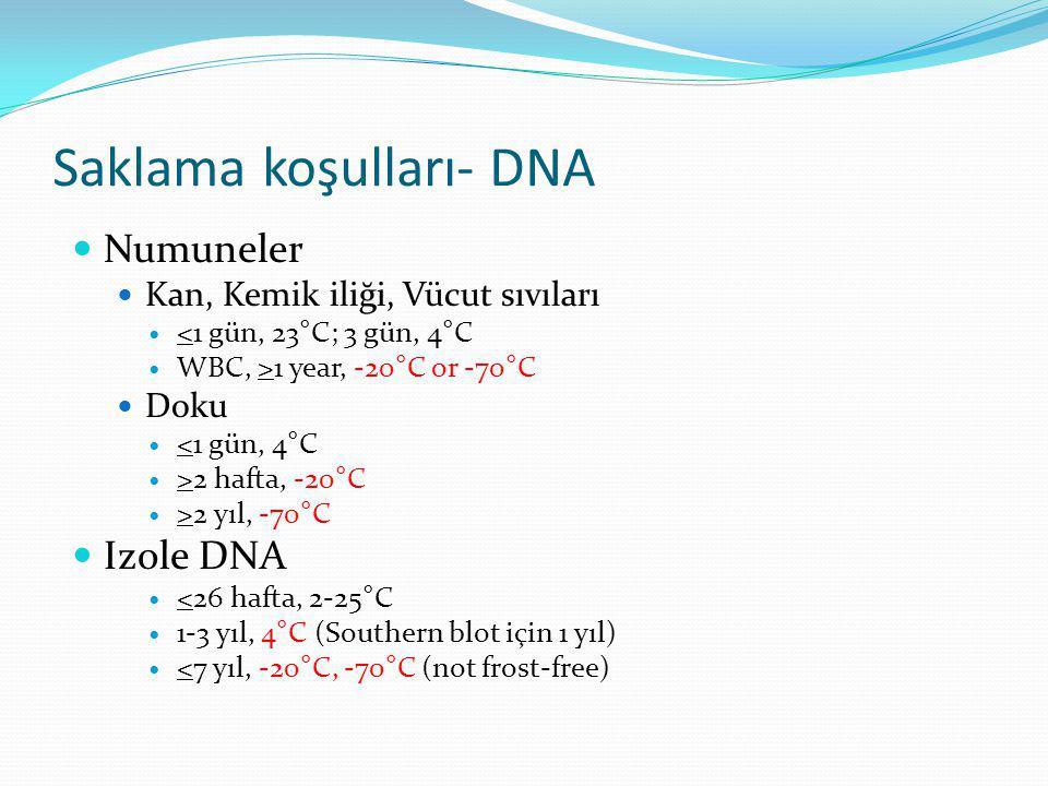 Saklama koşulları- DNA  Numuneler  Kan, Kemik iliği, Vücut sıvıları  <1 gün, 23°C; 3 gün, 4°C  WBC, >1 year, -20°C or -70°C  Doku  <1 gün, 4°C 