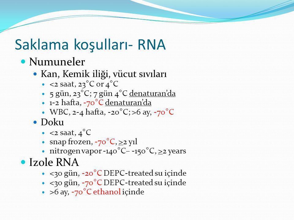 Saklama koşulları- RNA  Numuneler  Kan, Kemik iliği, vücut sıvıları  <2 saat, 23°C or 4°C  5 gün, 23°C; 7 gün 4°C denaturan'da  1-2 hafta, -70°C