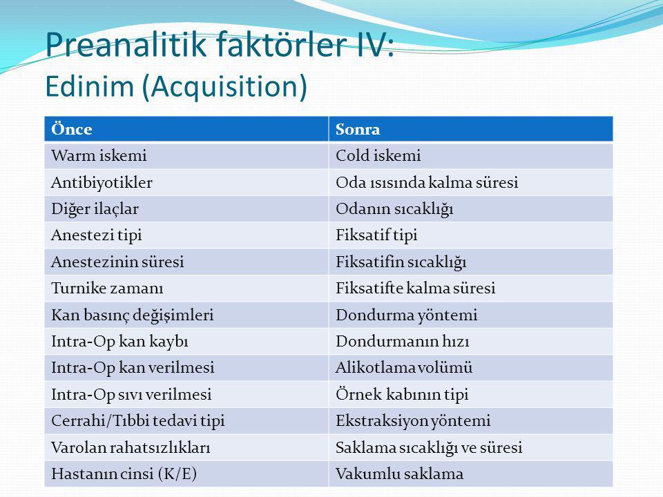 Preanalitik faktörler IV: Edinim (Acquisition) ÖnceSonra Warm iskemiCold iskemi AntibiyotiklerOda ısısında kalma süresi Diğer ilaçlarOdanın sıcaklığı