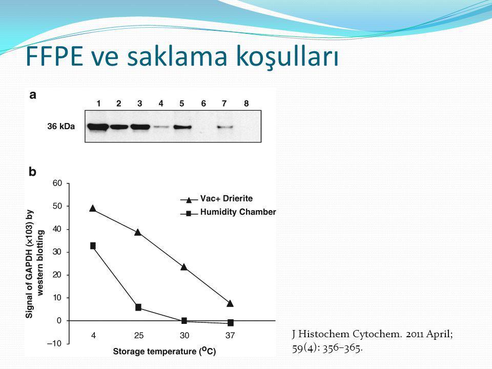 FFPE ve saklama koşulları J Histochem Cytochem. 2011 April; 59(4): 356–365.